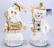 Новогодняя мягкая игрушка Снеговик,  Санта,  36см