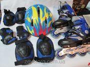 Набор: раздвижные детские ролики + защита + шлем
